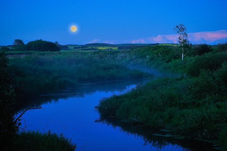 """""""Moon Glow"""" Rural Alberta."""