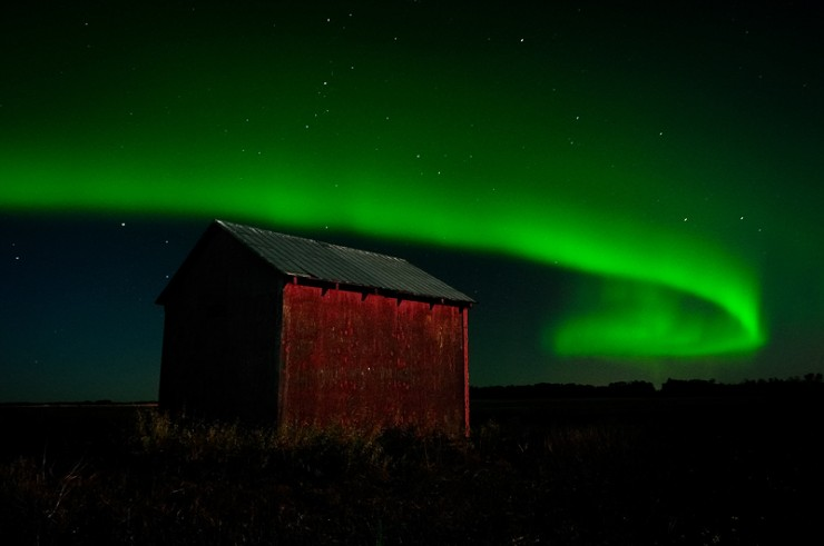 """Northern Lights Panorama 2"" Photo taken about 25 minutes north of Edmonton, Alberta."