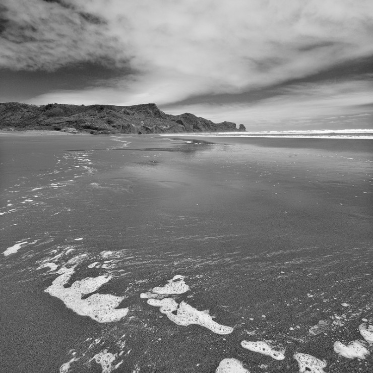 """Piha Beach B+W"" Piha, New Zealand."